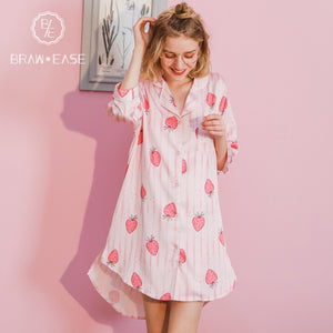 BrawEase Womens Stripe Strawberry Satin Button Up 3/4 Sleeve Nightgown