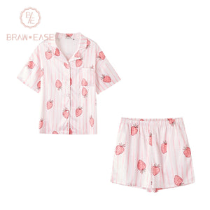 BrawEase Womens Stripe Strawberry Satin Button Up Short Sleeve Pajama Set with Shorts