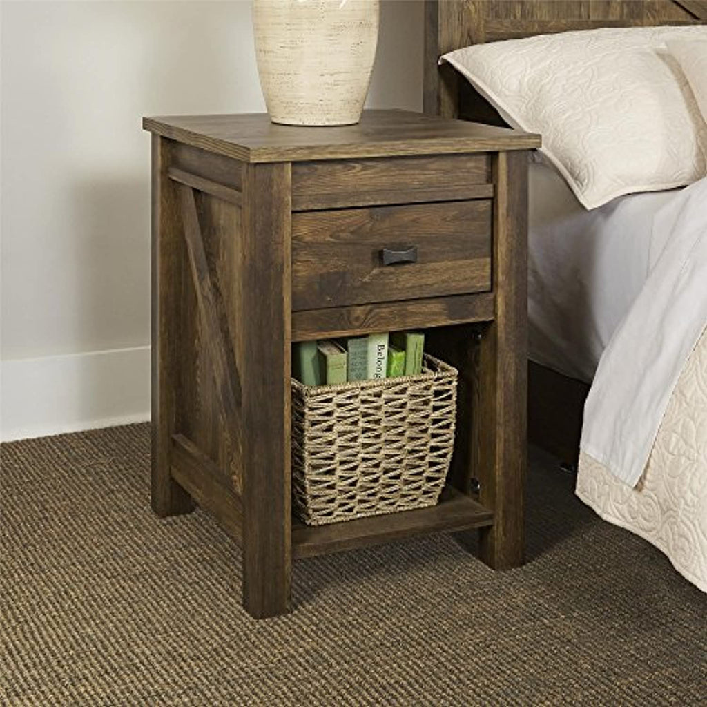 Bedside Night Stand Rustic Small Barn Style Refurbished Farmhouse Concept