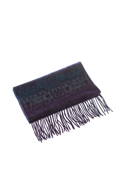 CASHMERE AND WOOL SCARF PURPLE/BLUE