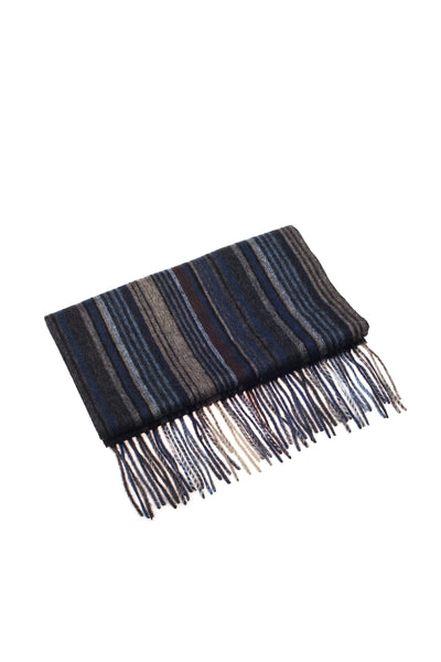 CASHMERE AND WOOL SCARF NAVY STRIPE