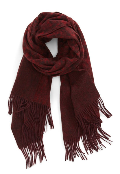 CASHMERE/MERINO WOOL WRAP RED/BROWN