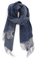 CASHMERE/MERINO WOOL WRAP NAVY/GREY