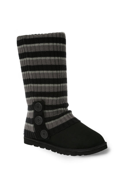 UGG CARDY SOCKS - BLACK/CHARCOAL/GREY STRIPE