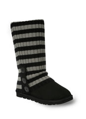 UGG CARDY SOCKS - BLACK/GREY THICK STRIPE