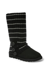 UGG CARDY SOCKS - BLACK/GREY THIN STRIPE
