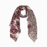 100% WOOL PRINTED SCARF - RED/LEOPARD