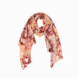100% WOOL PRINTED SCARF - GOLDEN BROWN LEAF