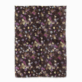 100% WOOL PRINTED SCARF - PURPLE MAPLE LEAVES FLORAL