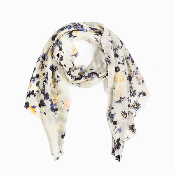 100% WOOL PRINTED SCARF - SAND/BLACK BLUE FLORAL