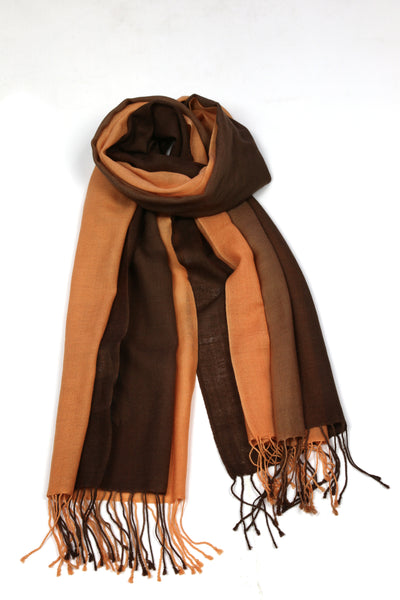 TIE DYE SCARF ORANGE/CHOCOLATE