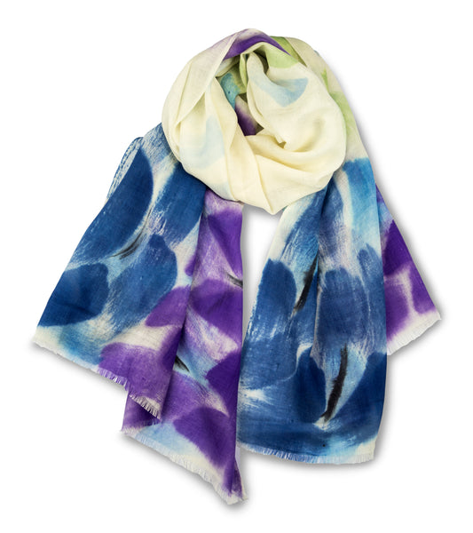 100% MERINO WOOL HAND PAINTED SCARF PURPLE GREEN