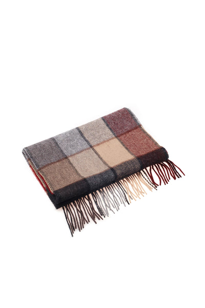 100% WOOL SCARF GREY MAROON