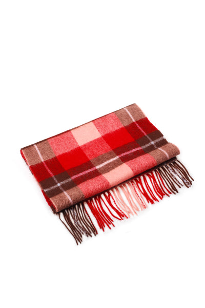 100% WOOL SCARF RED BROWN