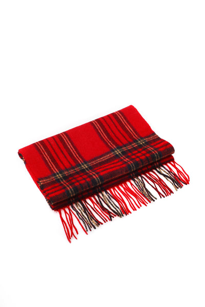 100% WOOL SCARF RED NAVY