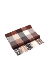 100% WOOL SCARF BROWN CREAM