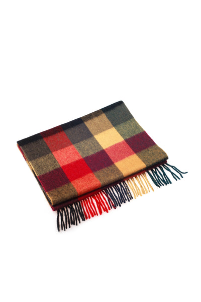 100% WOOL SCARF RED YELLOW BLACK