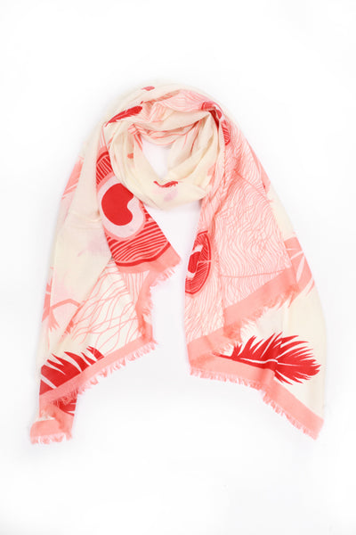 100% MERINO WOOL SCARF CREAM/CORAL