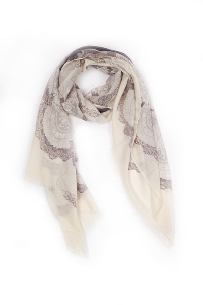 100% MERINO WOOL SCARF CREAM/GREY