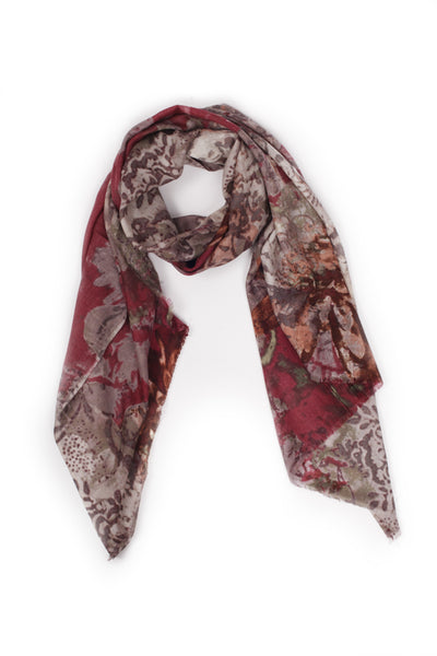 100% MERINO WOOL SCARF RUBY RED