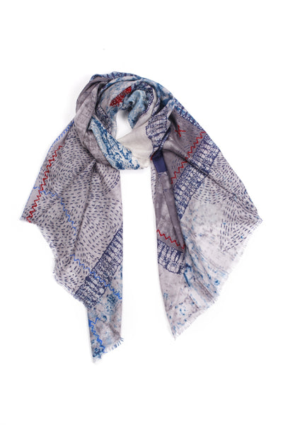 100% MERINO WOOL SCARF BLUE GREY