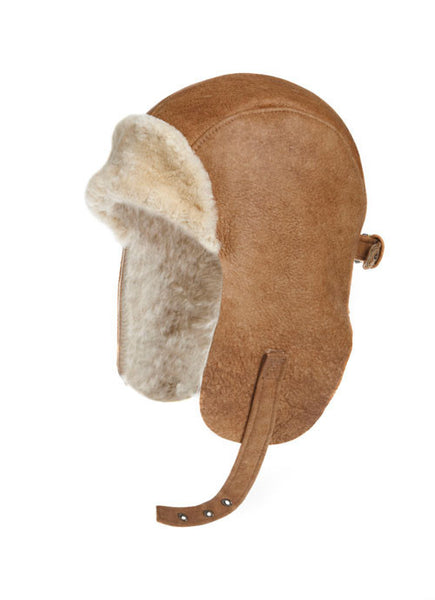 VINTAGE SHEARLING SHEEPSKIN LEATHER PILOT HAT