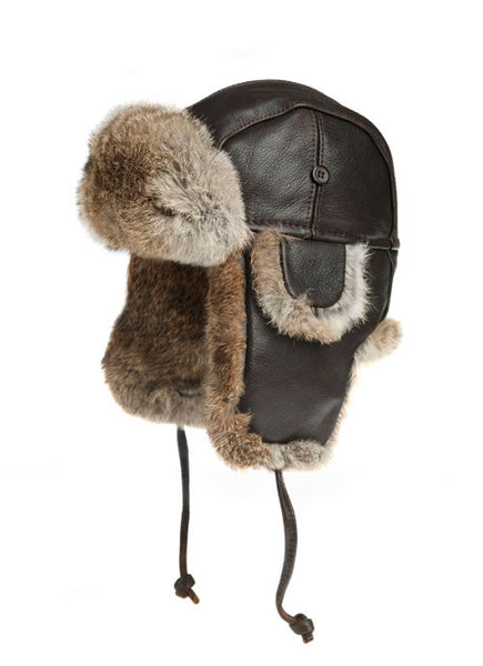 VINTAGE RODES LEATHER AND RABBIT FUR AVIATOR HAT