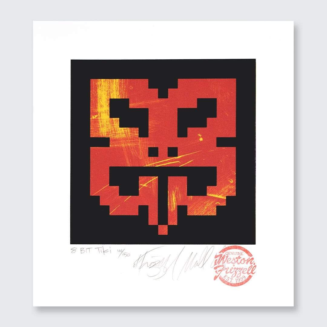 8-bit Tiki Red Screen-Print by Weston Frizzell