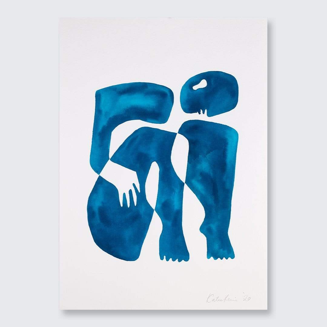Blue Figure II Original Painting by Katie Revie