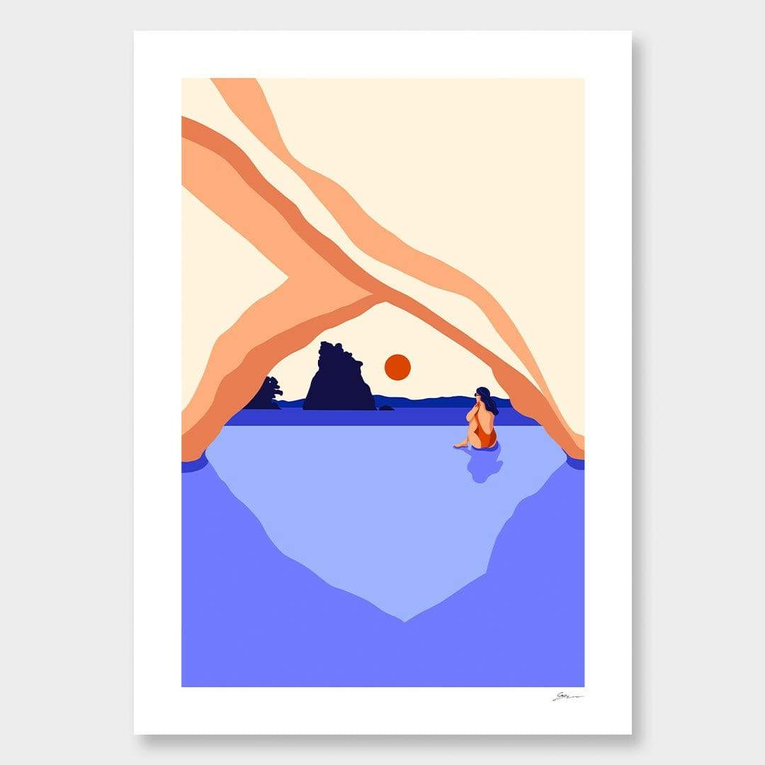 Cold Swim Cathedral Cove Art Print by Grace Popplewell