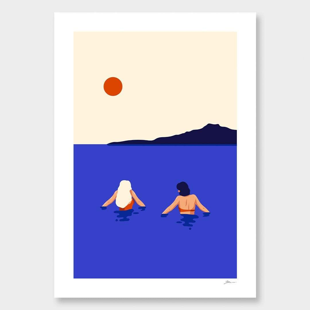 Cold Swim - Takapuna Art Print by Grace Popplewell