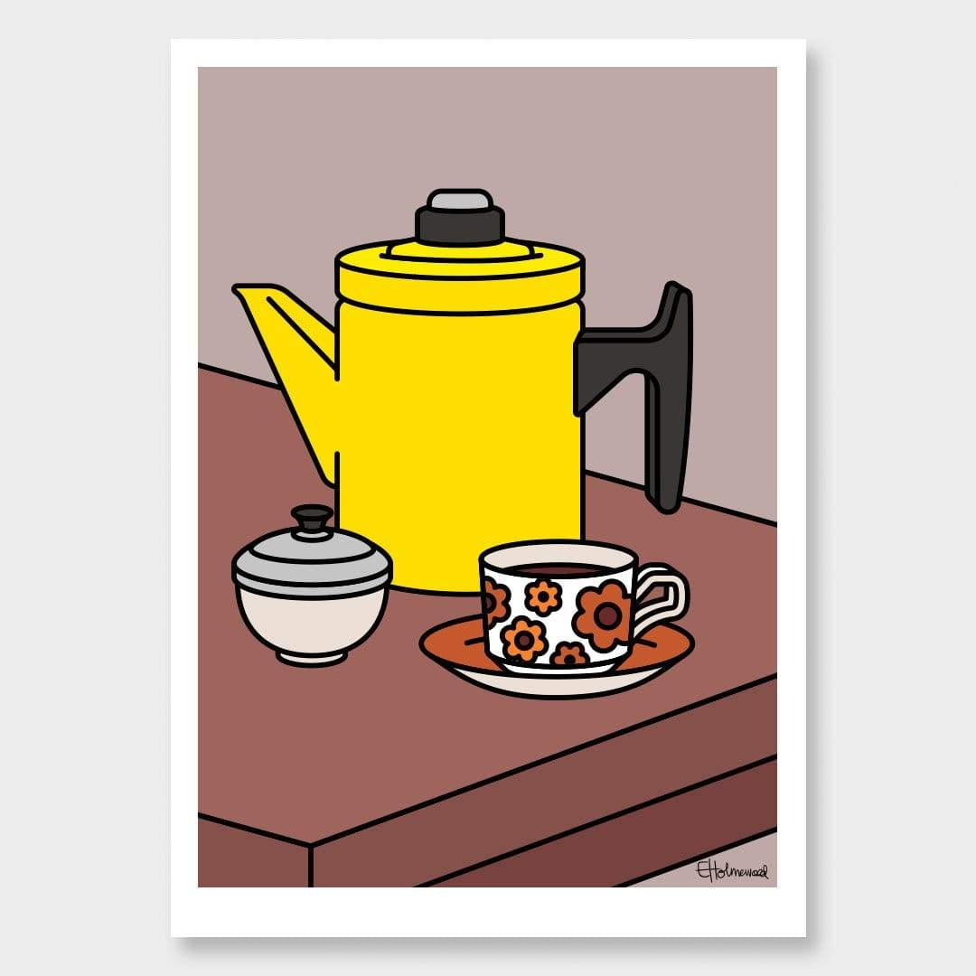Crown Lynn and Coffee Art Print by Emile Holmewood