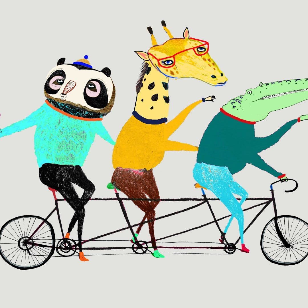 Tandem Animals Art Print by Ashley Percival