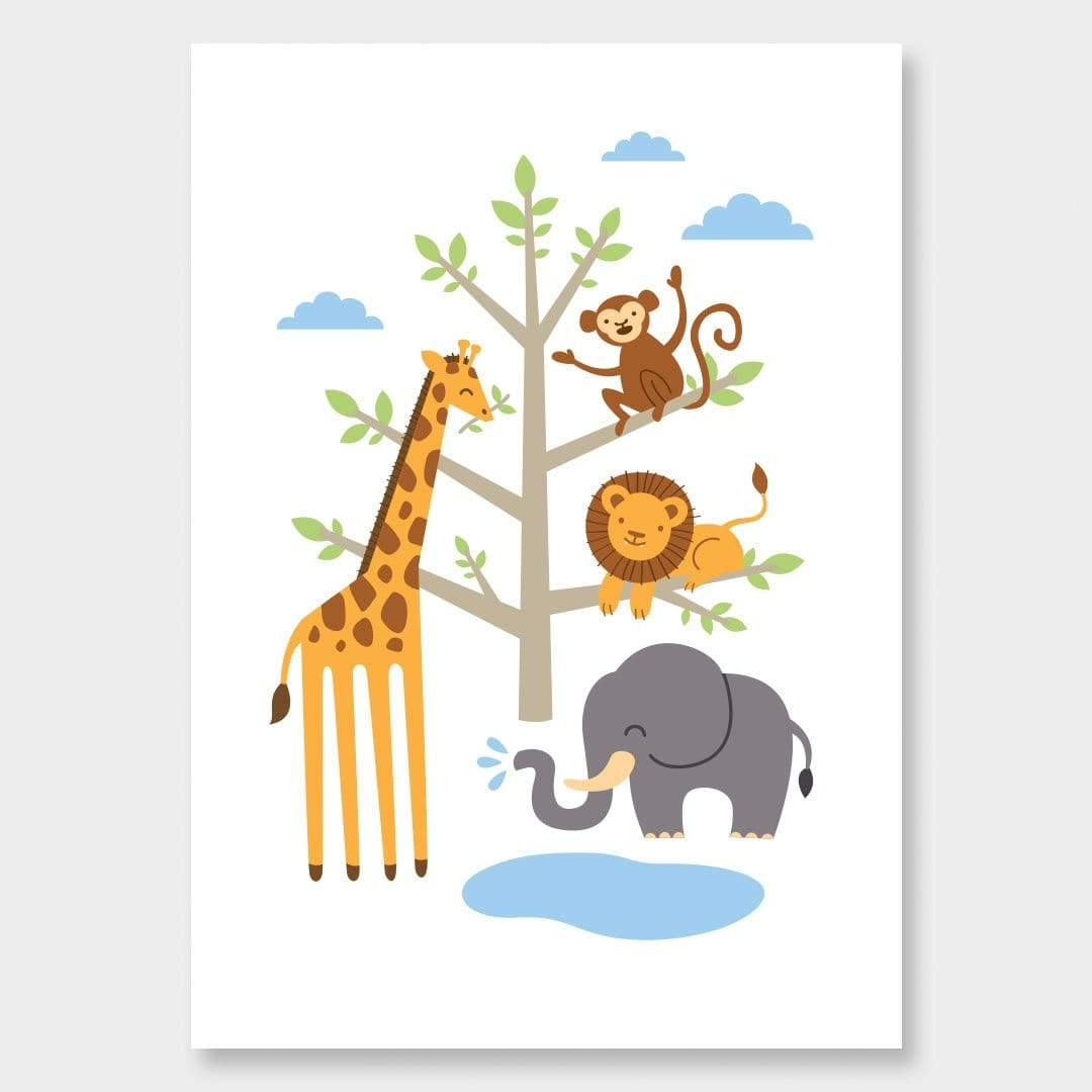 African Animals Kids Art Print by 326