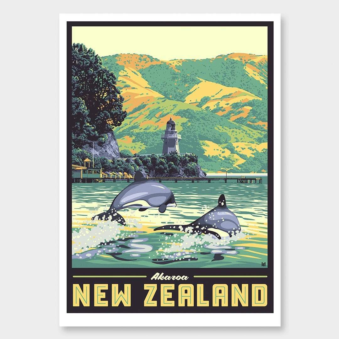 Akaroa Art Print (Vintage Travel Series) by Ross Murray