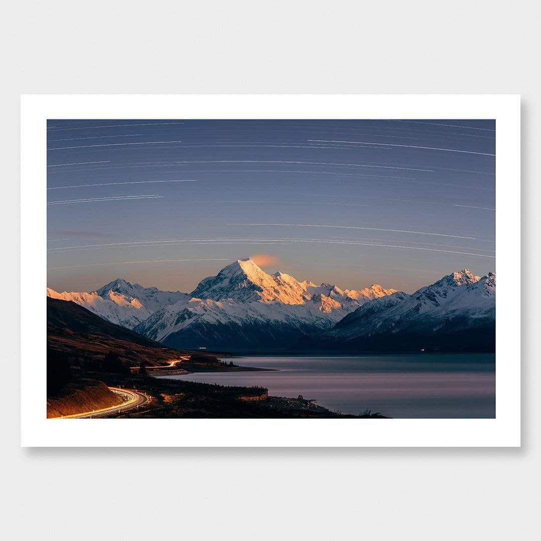Aoraki Moonrise Star Trails Photographic Print by Mike Mackinven