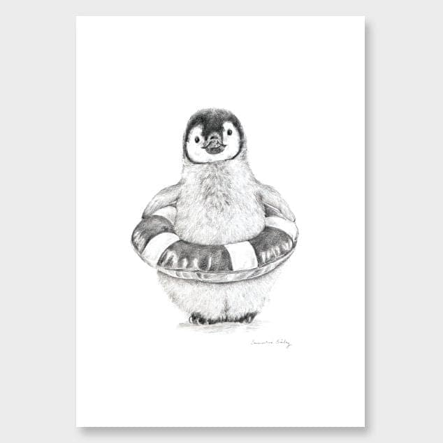 Baby Penguin Art Print by Emmaline Bailey