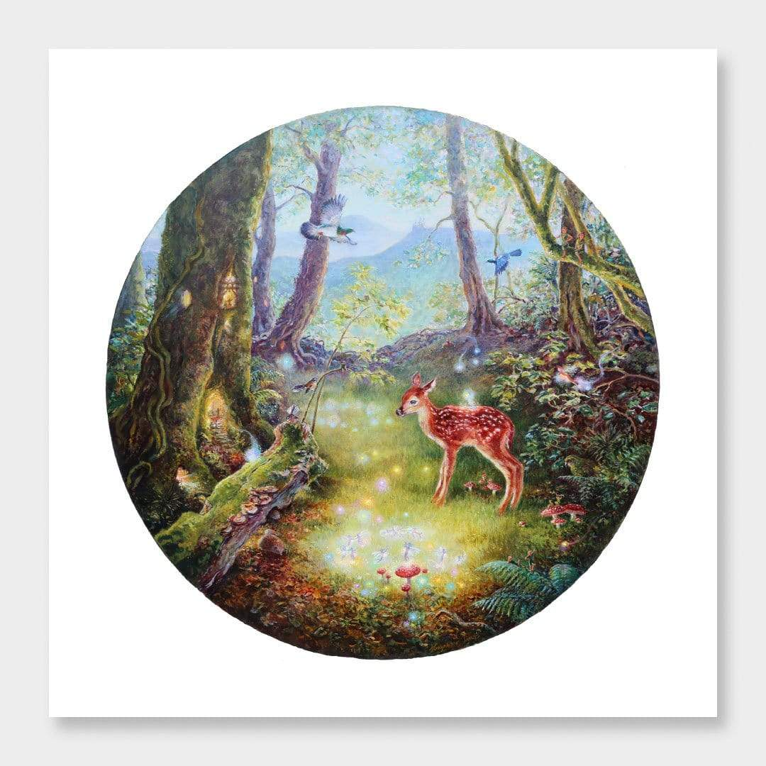 Bambi in the Woods II Art Print by Josephine Davis
