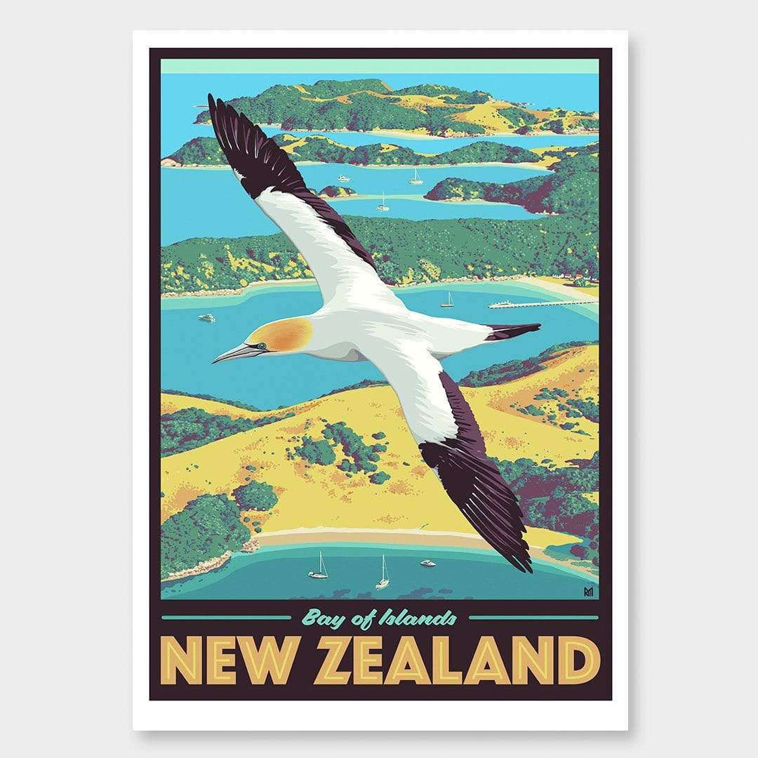 Bay of Islands Art Print (Vintage Travel Series) by Ross Murray