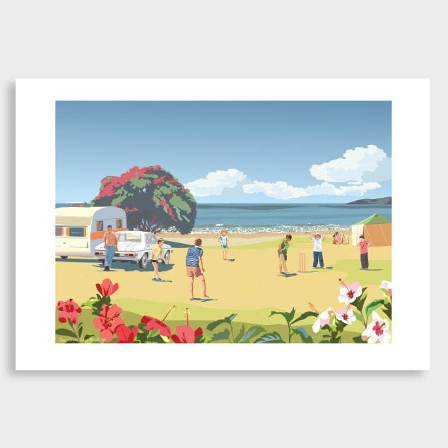 Beach Cricket Art Print by Contour Creative Studio