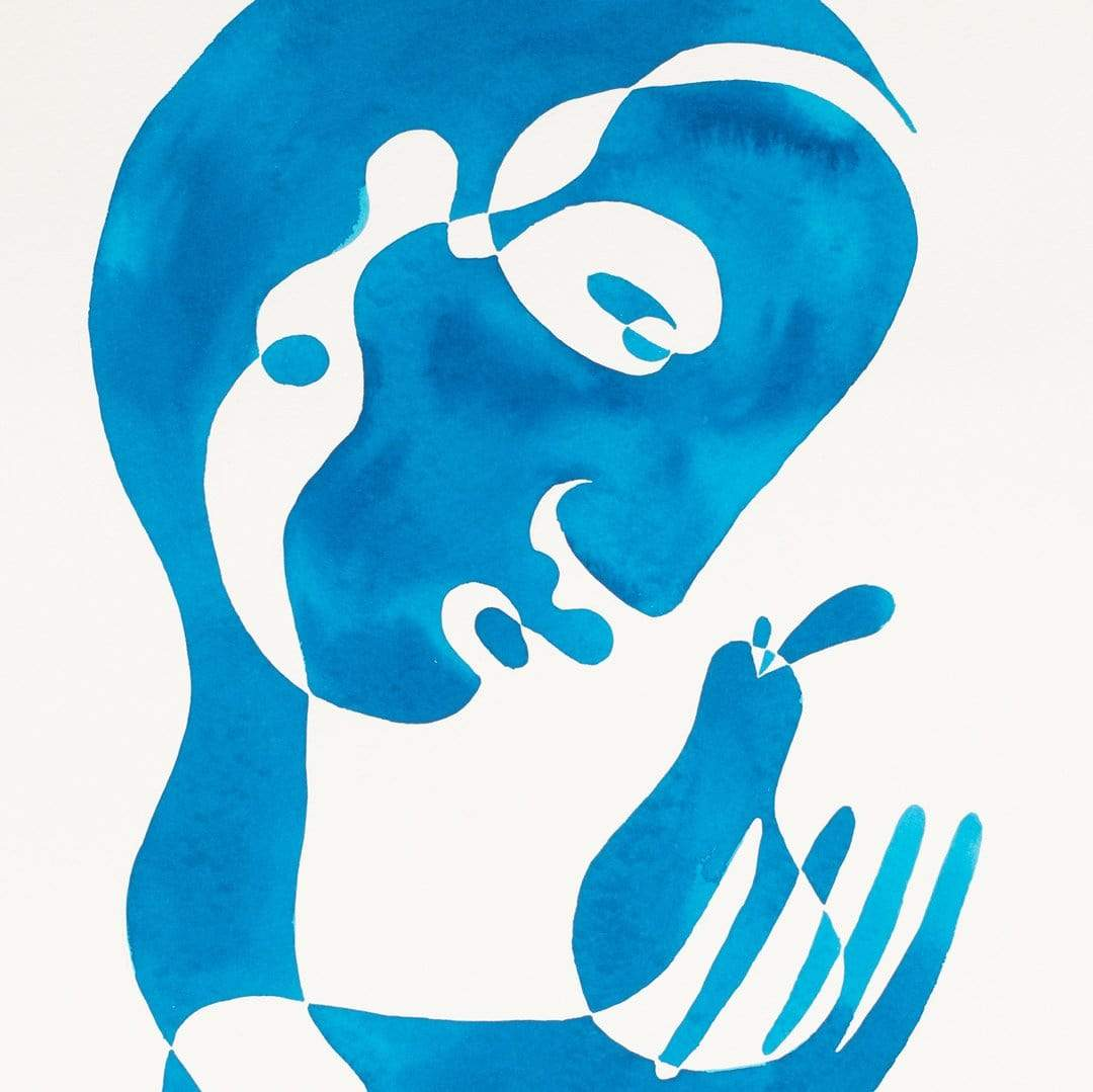Blue Figure & Pear Original Painting by Katie Revie