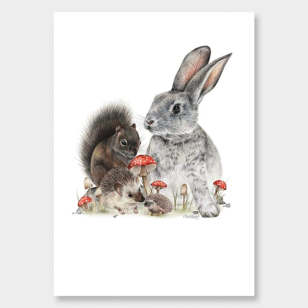 Bunny & Friends Art Print by Olivia Bezett