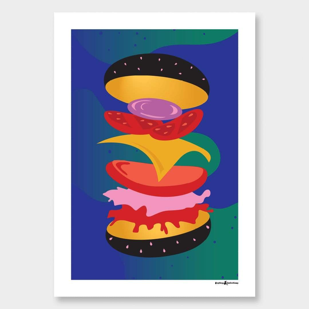 Burger Art Print by Restless & Infectious