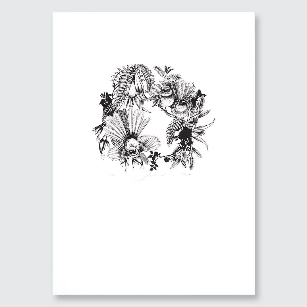 Fantail Wreath Crest Screen-Print by Flox