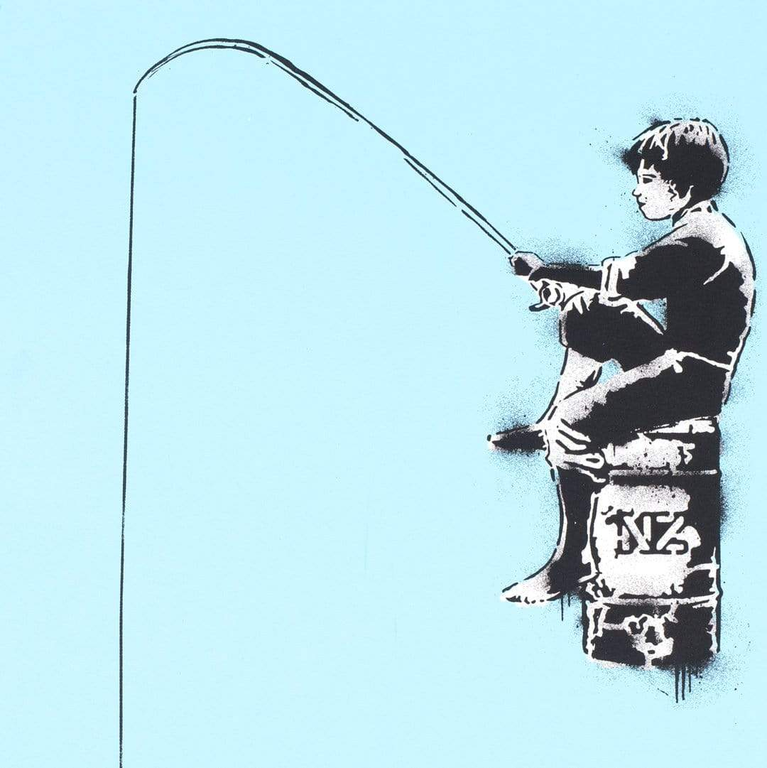 Fishing For Love Blue Screenprint by Component