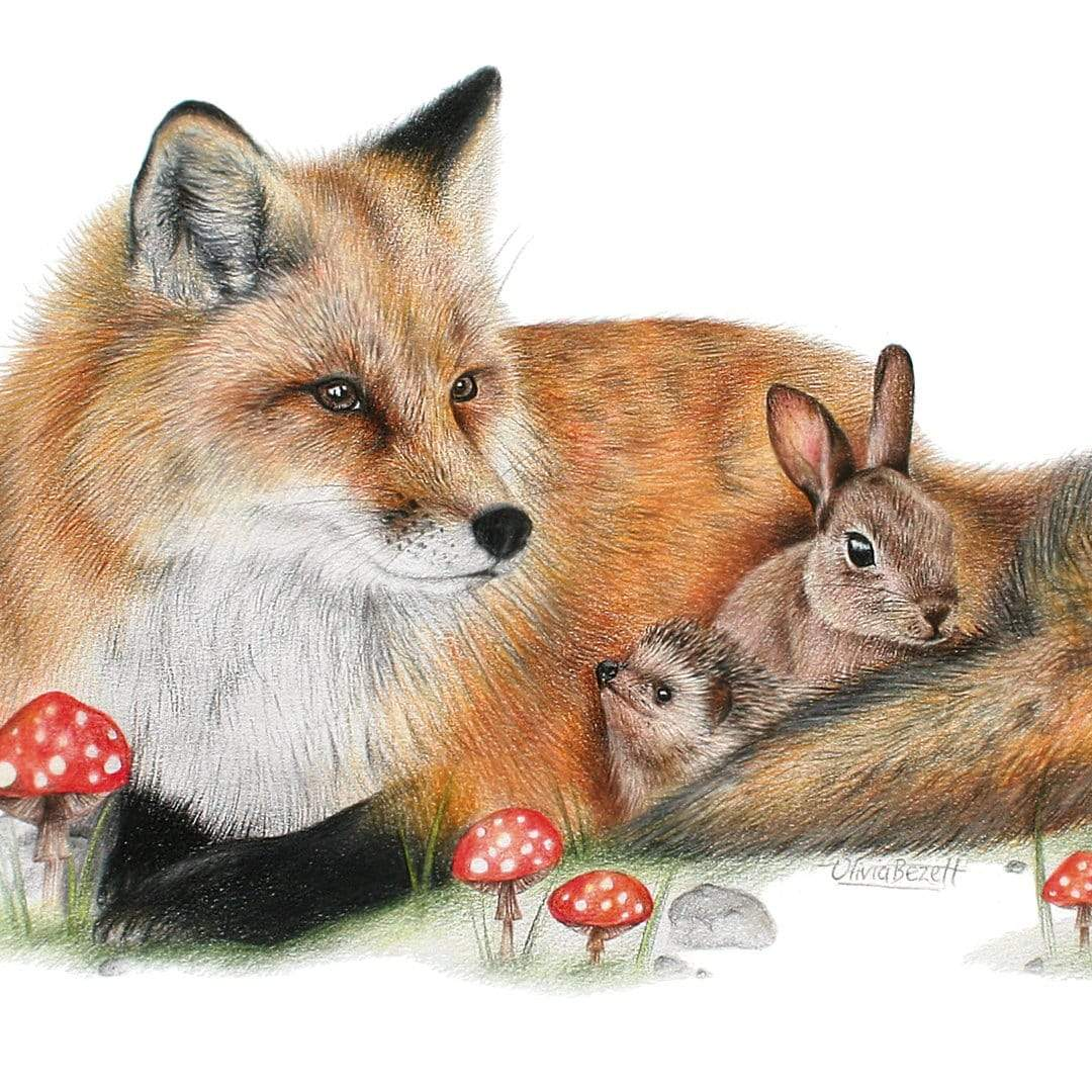 Fox & Friends Art Print by Olivia Bezett