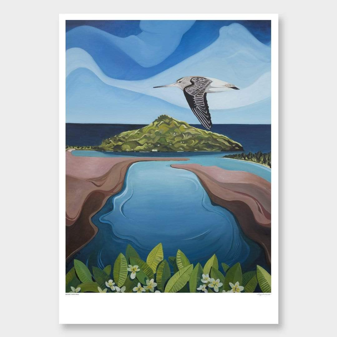 Godwit Over Paku Art Print by Guy Harkness