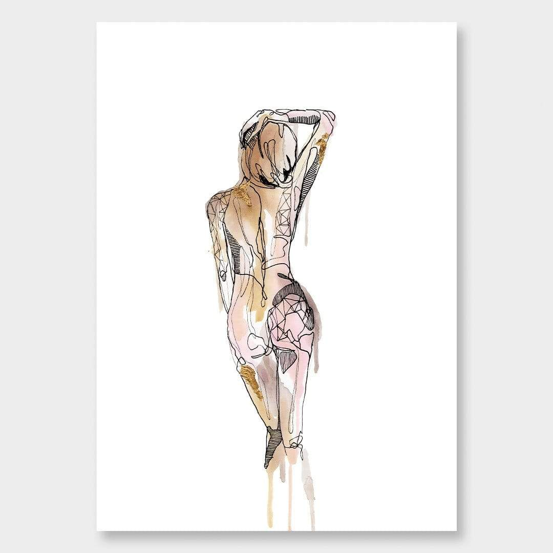 Gold Nude Art Print by Makus Art