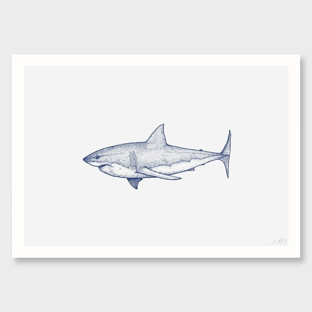 Great White Shark Landscape Art Print by Nathan Miller