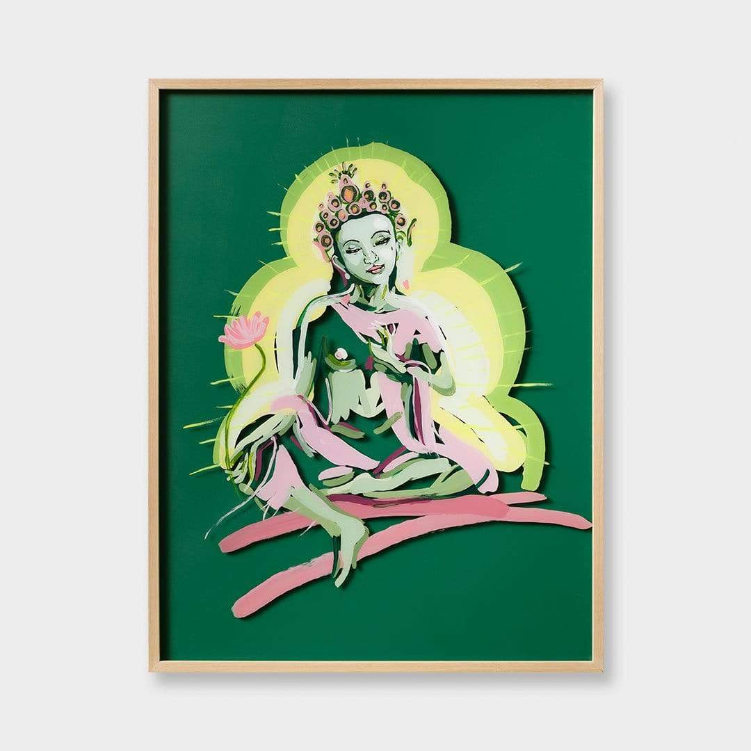 Green Tara Original Painting by Jen Sievers